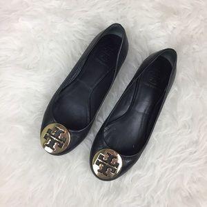 Tory Burch Reva Ballet Flats Black Gold Sz 6